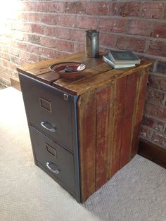 Rough Luxe Vintage Metal Filing Cabinet Encased in reclaimed Wood