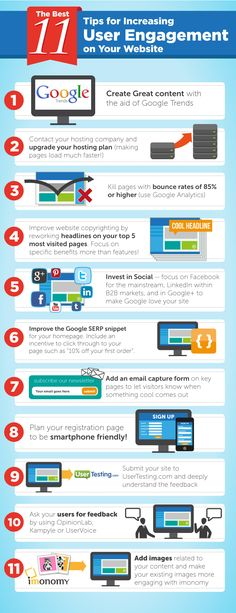 11 Tips For Increasing User Engagement On Your Website  For more marketing tips and resources visit www.socialnmediabusinessacademy.com Infographic
