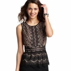 LOFT lace peplum top New without tags lace peplum top. Great for work. I took the tags off and never wore it. Black lace with nude lining, lace doesn't stretch. I accept reasonable offers. LOFT Tops Blouses