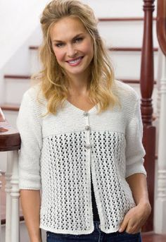 Red Heart® Shimmer Lace Cardi #knit #pattern