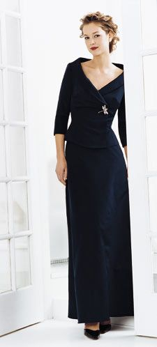 Elegant mother-of-the-bride evening dress in Black. #motherofthebride #weddings | We produce many styles for mother of the bride. If you are needing long sleeves or a dress with a shrug we have something for you to consider. You can see many different mother of the bride dresses on our main site at www.dariuscordell.com