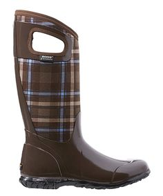 6fa581fc782c Look at this Bogs Brown Plaid North Hampton Waterproof Tall Boot - Women on   zulily