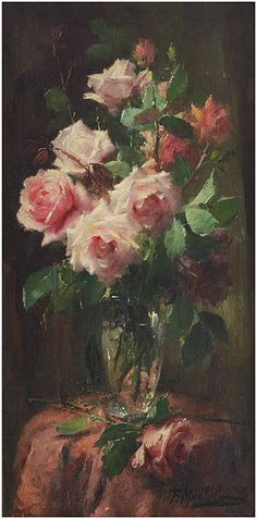 "Frans Mortelmans: ""A bouquet of pink roses"", oil on canvas, Dimensions:	Height: 80 cm (31.5 in). Width: 40.5 cm (15.9 in), Auctioned by Christie's, 23 - 24 June 2015 Amsterdam, lot 330."