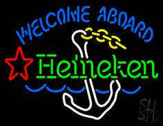 Heineken Welcome Aboard Nautical Theme Neon Sign 24 Tall x 31 Wide x 3 Deep, is 100% Handcrafted with Real Glass Tube Neon Sign. !!! Made in USA !!!  Colors on the sign are White, Blue, Green, Yellow and Red. Heineken Welcome Aboard Nautical Theme Neon Sign is high impact, eye catching, real glass tube neon sign. This characteristic glow can attract customers like nothing else, virtually burning your identity into the minds of potential and future customers.