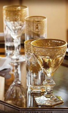 Glass cups decorated with gold
