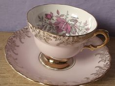 antique tea cup and saucer set, Rosina English bone china tea cup, pink and gold tea set. $39.00, via Etsy.