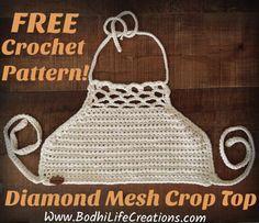 Diamond Mesh Crop Top Pattern free crochet pattern www.BodhiLifeCreations.com follow on Instagram @bodhi.life.creations