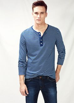 MANGO Striped henley t-shirt Manish, Work Inspiration, Mens Tees, Casual, Long Sleeve Tees, Collection, Scotch, Womens Fashion, Polo