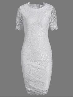Lace Short Sleeve Long Sheath Tight Dress - WHITE S