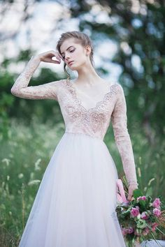 Hand embroidered blush wedding dress Tulle wedding gown // Orchidee by CarouselFashion on Etsy