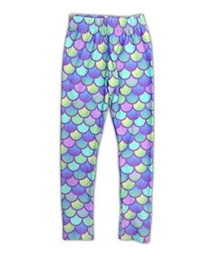 This Green & Purple Mermaid Scales Leggings - Infant, Toddler & Girls is perfect! #zulilyfinds