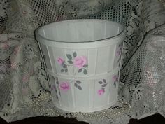 """HALF PECK BASKET WITH PINK ROSES 9x7.25"""" ej hp shabby chic cottage hand painted #Unbranded #FrenchCountry #HANDPAINTED #French Country #shabby chic style"""