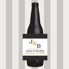 Monogram Beer Labels, Wedding Beer Label, Custom, Personalized, Sticker, Wedding Favor, Table Numbers, Wedding Decoration, Bridal Shower by DesignsByTenisha