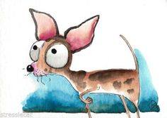 ACEO-Original-watercolor-whimsical-animal-painting-dog-sweetie-Chihuahua-4