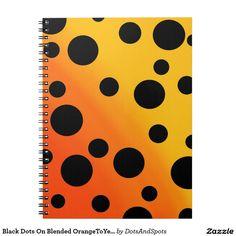 Black Dots On Blended OrangeToYellow Spiral Notebooks