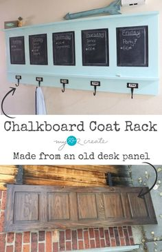 Chalkboard Coat Rack, repurposed from desk panel  MyLove2Create for http://MyRepurposedLife.com     ohhh I can do this with that closet door I have in the garage!