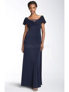 Royal Blue Off-The-Shoulder Floor Length Chiffon Mother of the Bride Dress