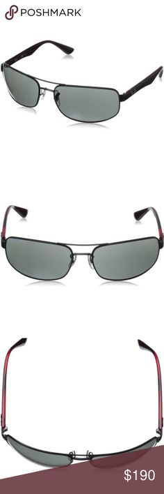 Ray-Ban Sunglasses RB3445 sunglasses offer the best of both worlds; protection and fit. Ideal for most face shapes, rectangular and unisex, sit comfortably while the steel double brow bar is complimented by rubber inserts on the temple tips allowing for a more secure fit.  The elbow wrapped plates hide hinge hardware while allowing frame design to flow cohesively fitting your face like a glove. These sunglasses come polarized and are prescription friendly. UPC 8053672481984 Color: 006/P2…
