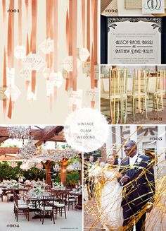 1. Thread escort tags to make a ribbon curtain for the entrance of your reception with the help of a buckle threader and square paper punches. From Martha Stewart. 3. Chivari chairs