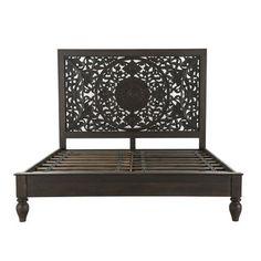 Mash Studios LAX Series Solid Wood Platform Bed | Perigold Solid Wood Platform Bed, King Platform Bed, Wooden Bed Frames, Wooden Slats, Carved Beds, Hand Carved, King Bed Frame, Wood Headboard, Wooden Hand