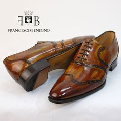 FRANCESCO BENIGNO (フランチェスコベニーニョ ) wing tip shoes enamel Brown