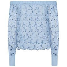 Robert Rodriguez Lace Off-The-Shoulder Top (2.035 BRL) ❤ liked on Polyvore featuring tops, blouses, shirts, off-the-shoulder blouses, blue floral blouse, blue lace shirt, layering shirts and ruffled shirt