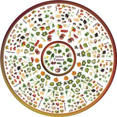 """Seasonal Eating.  (It's a table print...amazing.  The center is a """"lazy susan type thing...)"""