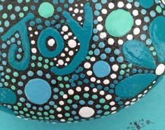 ROCK ART, Hand Painted Rock, Painted Stone, Mandala Design, Nature Art, rock word collection #3