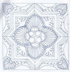 Esboço do Mosaico Colorido - Criado á partir de elementos presentes na ilustração de azulejos portugueses. Mais a diante este desenho ganha formas diversas.