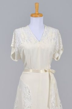 1940's Silk Crepe and Lace Vintage Wedding Dress