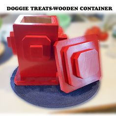 """WOOD HYDRANT PET TREAT CONTAINER    hydrant is made by Martin of hardwood and painted red. Top is removable to access treats, cookies, candy or whatever.    11"""" high and 7"""" wide inside is about 7"""" deep. Can be personalized with 2"""" high 4"""" long hardboard name tag.     We can print your pets photo, name Imprint space is limited to a little less than 2 x 4 inches. Just email our photo as a jpeg attachment along with up to 3 lines of type not mor than 30 spaces and letters long 