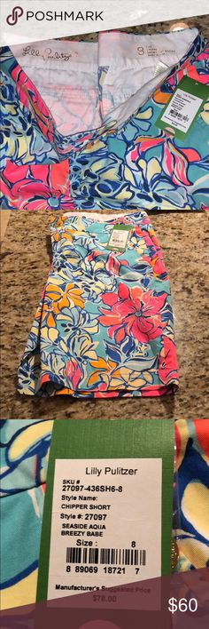 Lilly Pulitzer Shorts Chipper style. Print seaside aqua breezy babe. Brand new with tags. Purchased directly from Lily.  Make an offer! Lilly Pulitzer Shorts