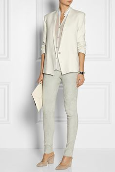 HELMUT LANG Ruched-sleeve slub-woven blazer $460 Tapping into its minimalist DNA, Helmut Lang delivers this restrained off-white blazer. Cut from a gently textured slub-woven, this coverup boasts a clean, loosely tailored shape and ruched sleeves - a sartorial nod to the label's '90s designs. Wear yours with a tonal top and luxe leggings.