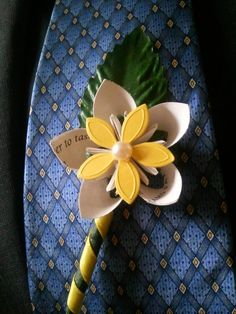 Handmade flower boutineer, yellow origami flower boutineer, recycled paper boutineer, men's wedding accessories, handmade by UndertheRedHat on Etsy