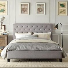 BED FRAME GREY TUFTED LINEN -- This elegant platform bed features a button-tufted headboard and durable linen upholstery. This queen-sized bed has small black wooden legs to raise it off the floor. Queen Platform Bed, Upholstered Platform Bed, Upholstered Beds, Grey Platform Bed, Bed Upholstery, Sofa Beds, Linen Headboard, Headboards For Beds, Bedroom Decor