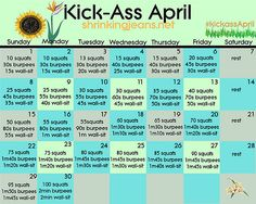 a workout already on a calendar for you! print it out and post it on your wall-- add to your daily routine or just get some of this workout in each day