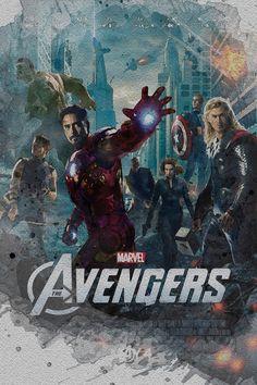 Watercolor Marvel MCU Avengers 1, 2, 3, 4 Avenge The Fallen Posters Canvas Art Print