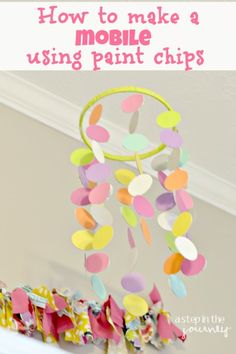 This is a great tutorial on how to make your own baby mobile using paint chips! It's actually pretty easy.
