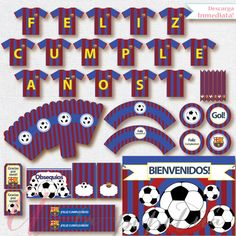 Kit de futbol imprimible para cumpleaños por Pipetua en Etsy Messi Birthday, Soccer Birthday Parties, 11th Birthday, Birthday Party Themes, Happy Birthday, First Communion Invitations, Birthday Invitations, Barcelona Soccer Party, Fc Barcelona