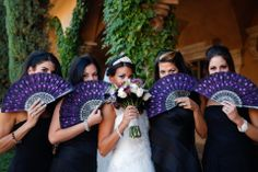 Beautiful purple accessories used by bridesmaid in this bridal party shot | villasiena.cc
