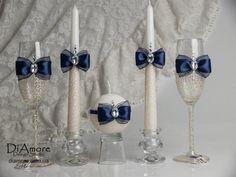 Gafas de boda de encaje plata gris / flautas de por DiAmoreDS
