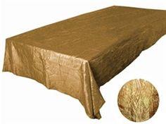 "Gold Crinkle Taffeta Tablecloth 90x132"""
