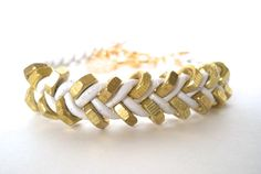50% off SALE - White Leather Braided Chevron Bracelet With Brass Hex Nuts and Gold Plated Toggle Clasp ... by  B A L O O S. $14.50, via Etsy.
