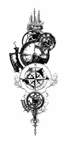 Amazing Compass Tattoo Designs and Ideas Ideas ., 65 Amazing Compass Tattoo Designs and Ideas Ideas . Tattoo Sleeve Designs, Tattoo Designs Men, Sleeve Tattoos, Clock Tattoo Design, Compass Tattoo Design, Compass Tattoos For Men, Viking Tattoo Design, 3d Tattoos, Body Art Tattoos