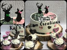 Camouflage Buck or Doe Gender Reveal Cake and Cupcakes!!!