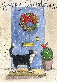 Alex Clark Charity Christmas Cards Black Cat at Blue Door Pack of 5 + 1 Free Alex Clark Card with every order