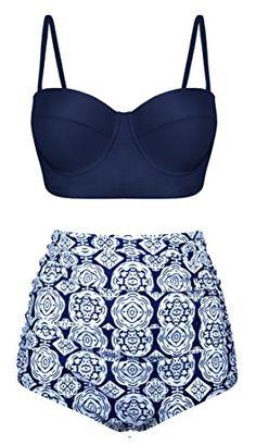 Angerella Polka High Waisted Cute Bikinis Swimwear Bathing Suit (BKI031-N1-M)