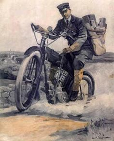 mailman on motorcycleish vehicle Foto Picture, You've Got Mail, Going Postal, London History, Us Postal Service, History Timeline, Post Box, Mail Art, Historical Photos