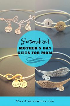 Personalized Mother's Day Jewelry Gifts for Mom Personalized Mother's Day Gifts, Personalized Bracelets, Handmade Bracelets, Best Mothers Day Gifts, Bff Gifts, Gifts For Mom, Bangle Bracelets With Charms, Bangles, Angel Wings Jewelry