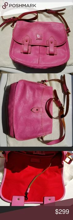 💗NWT Pink w/ Red Interior Dooney & Bourke Purse💗 ❤💗Gorgeous Bag Even more beautiful Quality and leather. This is straight from QVC, authentic comes with dustbag✔ and original tags attached. It's Barbie Pink exterior and bright red interior is Amazing.❤💞 measurements approx 14 x 11.5😊✔ Dooney & Bourke Bags Crossbody Bags